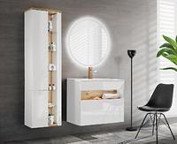 Bahama White 80 II, koupelnová sestava bílá lesklá/dub wotan + umyvadlo