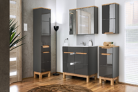 Bali Grey 80, koupelnová sestava šedá/dub wotan + umyvadlo