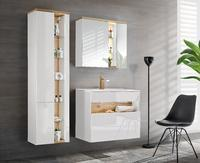 Bahama White 80, koupelnová sestava bílá lesklá/dub wotan+ umyvadlo