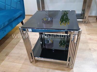 Fossil B, konferenční stolek kouřové sklo/stříbrná - 1