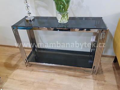 Fossil C, konferenční stolek kouřové sklo/stříbrná - 1