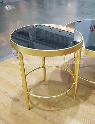 Mystic C, odkládací stolek tvrzené sklo/zlatá - 1