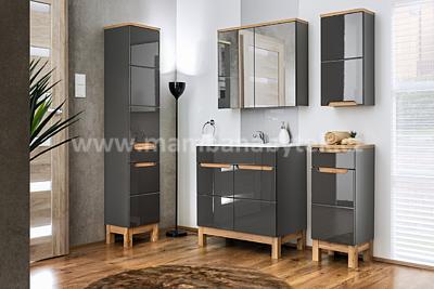 Bali Grey 60, koupelnová sestava šedá/dub wotan + umyvadlo - 1