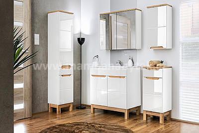 Bali White 60, koupelnová sestava bílá lesklá/dub wotan + umyvadlo - 1