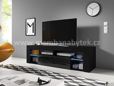 Black, televizní stolek, černá leská