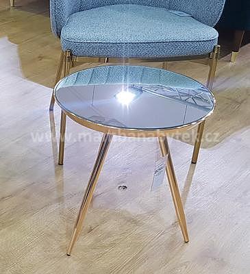 Bora C, odkládací stolek zrcadlo/zlatá - 1