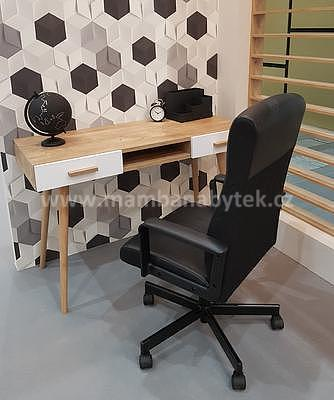 Brillo, psací stůl B2S, bílá/dub ribeck - 1