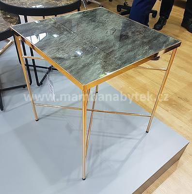 Cali, odkládací stolek tvrzené sklo/zlatá - 1