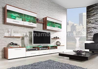 Camélia II, obývací stěna švestka/bílá