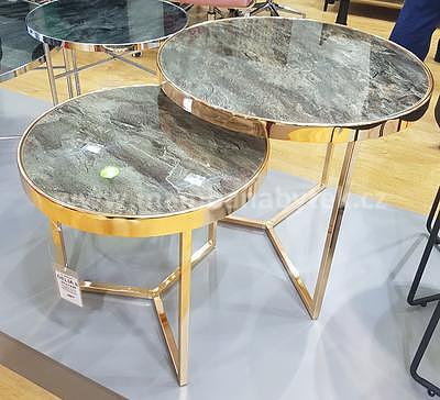 Delia II, konferenční stolek tvrzené sklo/zlatá - 1