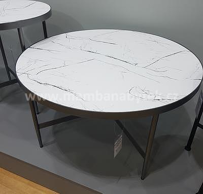 Dolores B, konferenční stolek imitace mramoru/šedá - 1