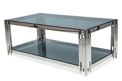 Fossil A, konferenční stolek kouřové sklo/stříbrná - 1