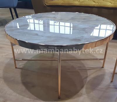 Fortuna B, konferenční stolek tvrzené sklo/zlatá - 1