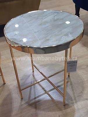 Fortuna C, odkládací stolek tvrzené sklo/zlatá - 1