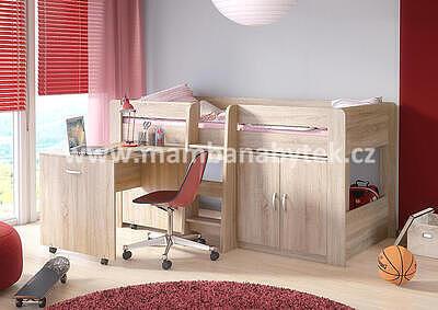vyvýšená postel Funky, dub sonoma - 1