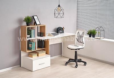 Grosso, psací stůl, dub zlatý/bílá - 1