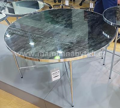 Ibiza B, konferenční stolek tvrzené sklo/stříbrná - 1