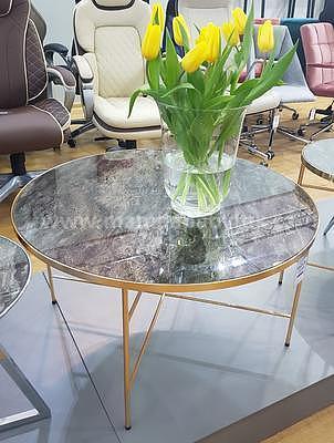 Ibiza B, konferenční stolek tvrzené sklo/zlatá - 1