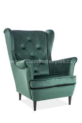 Lady Velvet, křeslo - tmavě zelená/wenge