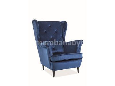 Lady Velvet, křeslo - tmavě modrá/wenge