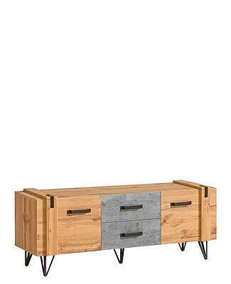 Loft 07, televizní stolek, dub wotan/beton - 1