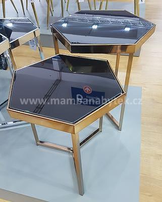 Milos, odkládací stolek černá/šampaň - 1