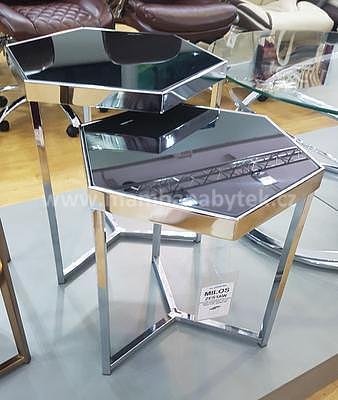 Milos, odkládací stolek černá/stříbrná - 1