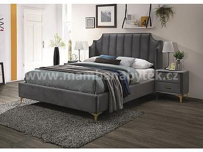 Monako, 160x200 cm, šedá sametová