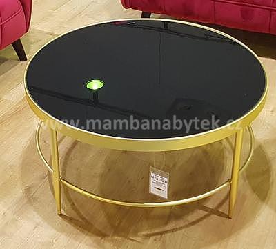 Mystic B, konferenční stolek tvrzené sklo/zlatá - 1