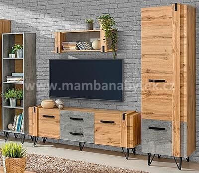 Loft, obývací stěna, dub wotan/beton - 1