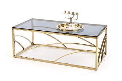 Universe, konferenční stolek kouřové sklo/zlatá - 1