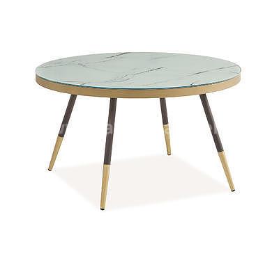 Vega B, konferenční stolek světlý mramor/černá/zlatá - 1