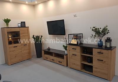 XL 1, obývací stěna, dub artisan/šedá