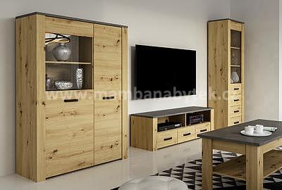 XL 2, obývací stěna, dub artisan/šedá