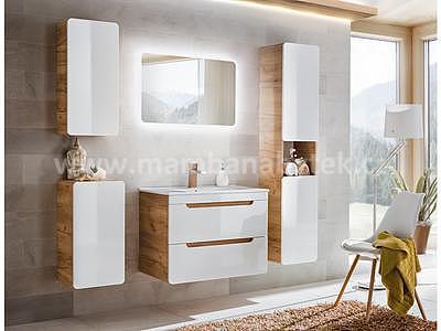 Aruba 80, koupelnová sestava bílá lesklá + umyvadlo - 1