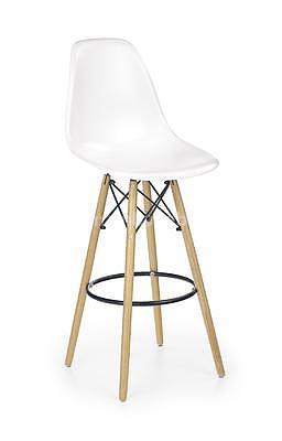 židle barová H51, bílá/buk