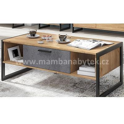 Iron, konferenční stolek, dub zlatý/grafit