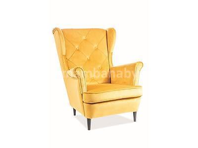 Lady Velvet, křeslo - žlutá/wenge