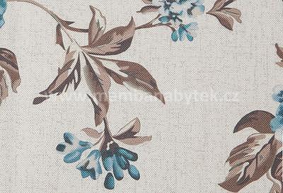 potahová látka Rose 14, modré květy