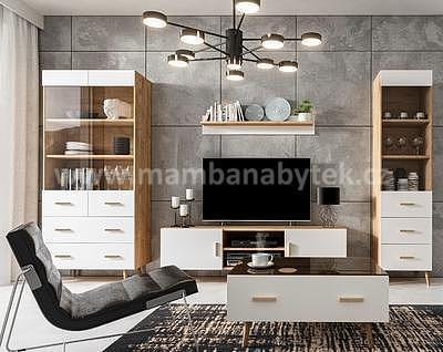 Brillo, obývací pokoj, bílá/dub ribeck