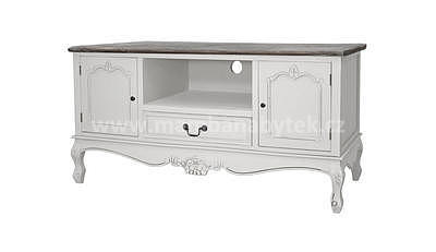 Rimini White 34W, televizní stolek bílá/hnědá