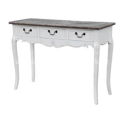 Rimini White 17W, stolek s šuplíky bílá/hnědá