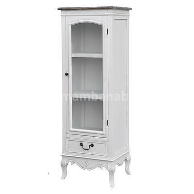 Rimini White 04W, vitrína úzká bílá/hnědá
