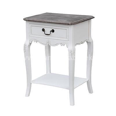 Rimini White 19W, noční stolek bílá/hnědá