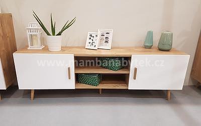 Brillo, televizní stolek, bílá/dub ribeck - 1