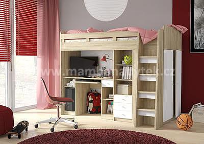 vyvýšená postel Unit, dub sonoma/bílá