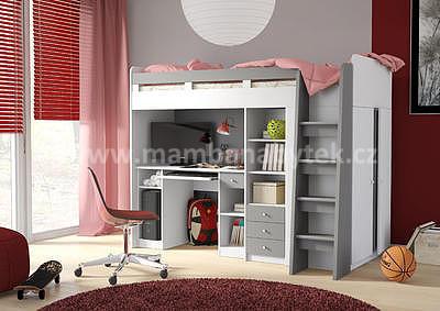 vyvýšená postel Unit, šedá/bílá