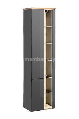 Bahama Grey 80, koupelnová sestava šedá lesklá/dub wotan + umyvadlo - 2
