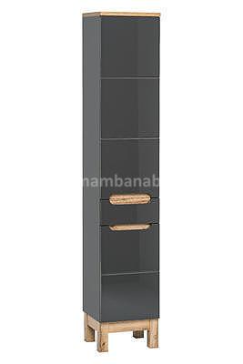 Bali Grey 60, koupelnová sestava šedá/dub wotan + umyvadlo - 2