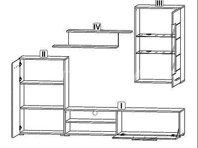 Berta, obývací stěna bílá matná - 2